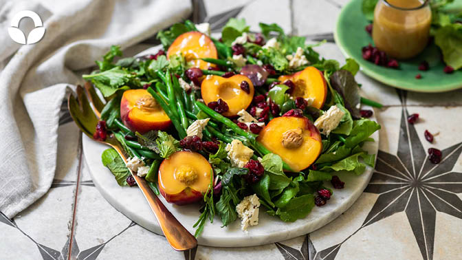 Festive Stone Fruit and Green Bean Salad