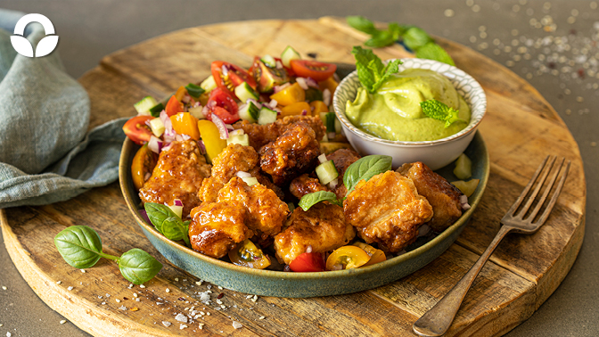 Crispy Pork and Spicy Avocado Dipping  Sauce with a Rainbow Salad
