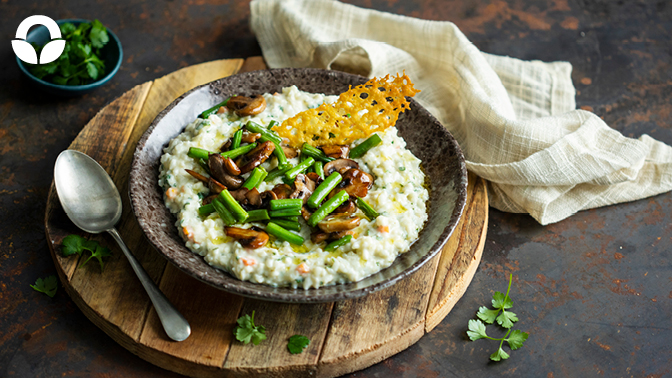 Creamy Mushroom Risotto with Green Beans