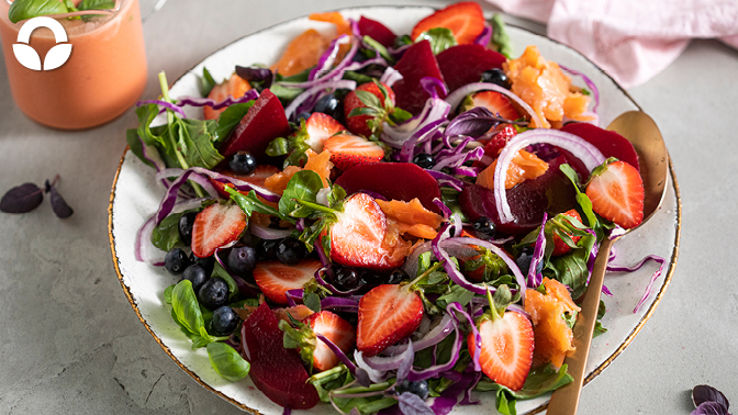 Spring Salad with Salmon and Strawberry Vinaigrette