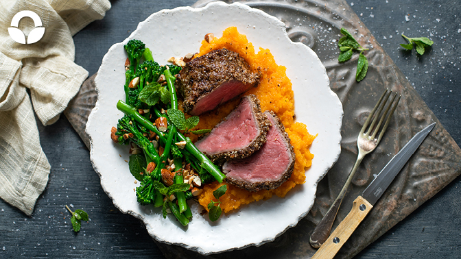 Dukkah Crusted Beef Fillet with Butternut Mash and Broccolini