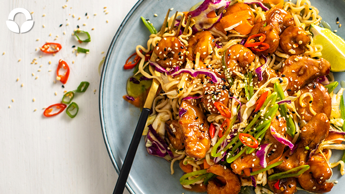 Sticky Soy Prawn and Chicken Noodle Salad