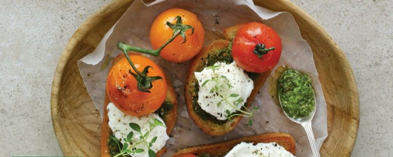 Roasted Vine Tomato, Basil Pesto and Buffalo Mozzarella Bruschetta